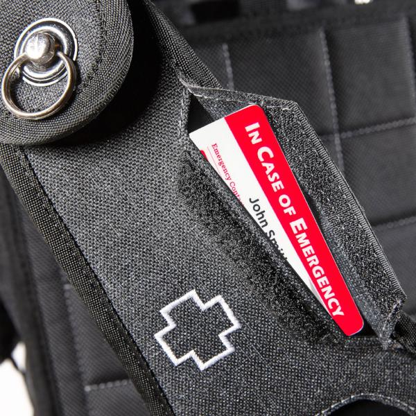 Emergency medical information and key pocket on a medium-sized backpack for the business traveler.