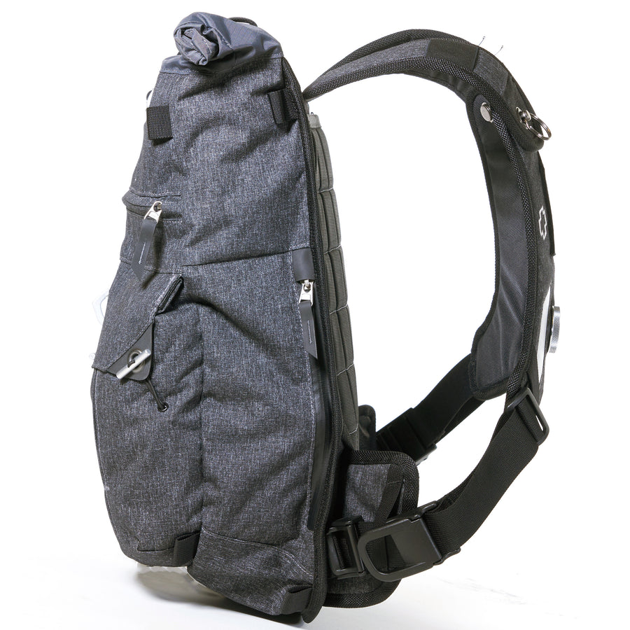 Side view on a medium-sized backpack for motorcycle commuting.