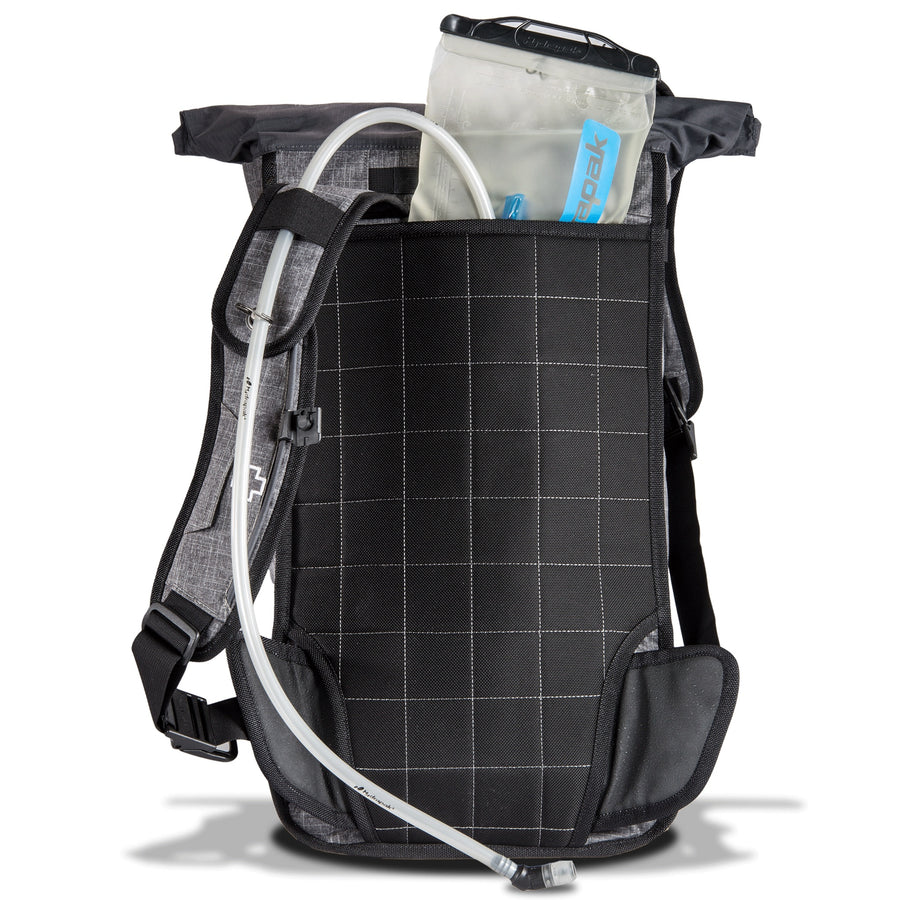 There is a dedicated hydration bladder sleeve on this roll-top backpack bicycle commuting.
