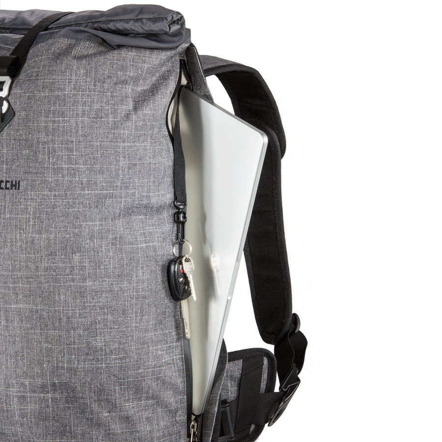 There is a dedicated compartment for your laptop on this roll-top backpack for bicycle commuting.