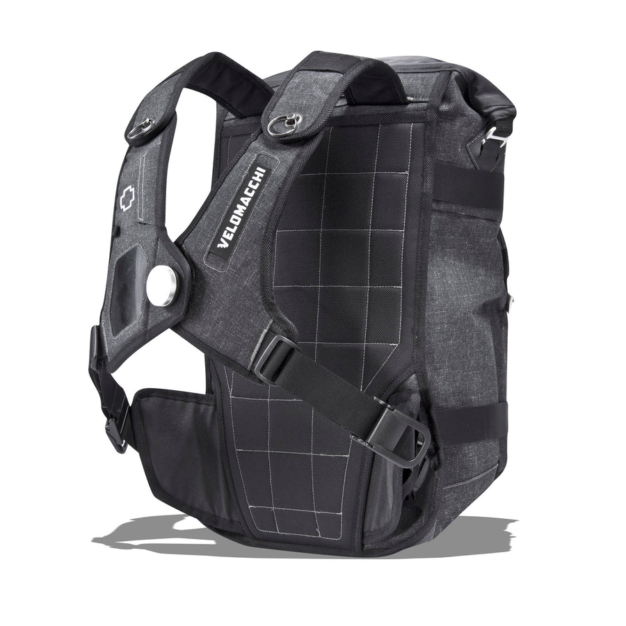 Quilted backpanel and harness on a large-sized backpack for motorcycle commuting.