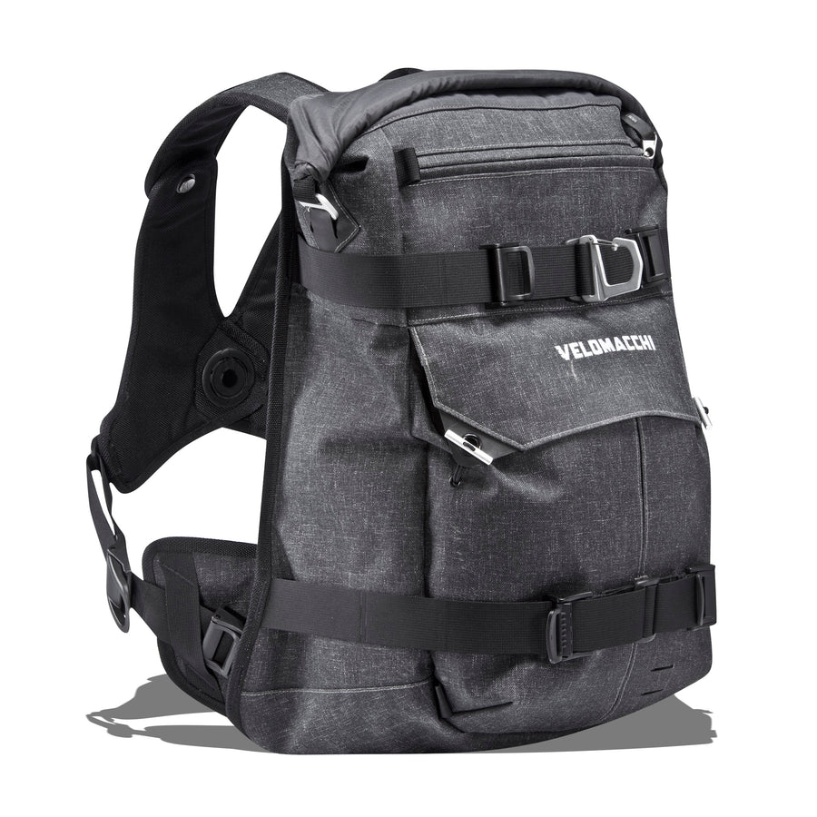 Left side view of a 40 liter watertight and waterproof motorcycle backpack and men's fashion luggage.