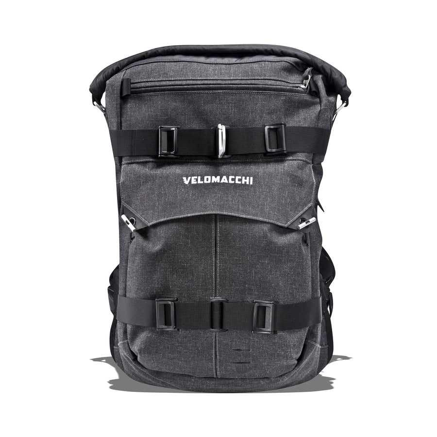 Roll-top on a medium-sized backpack for motorcycle commuting.