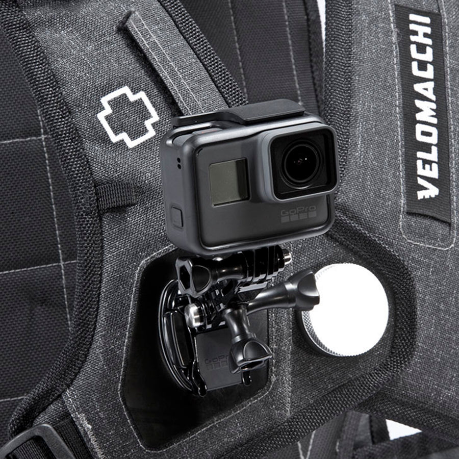 Close up of a GoPro mounted on a versatile large-sized backpack for motorcycle commuting.