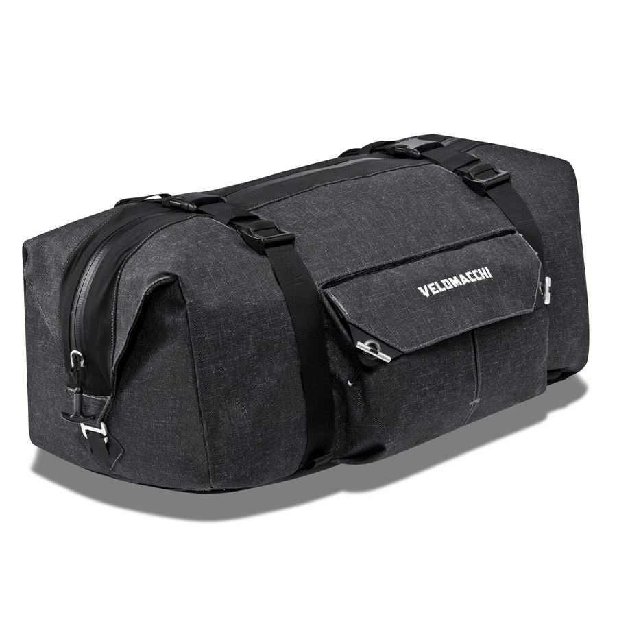 Side profile view of a 50 liter duffle bag that can be mounted as a motorcycle tail bag.