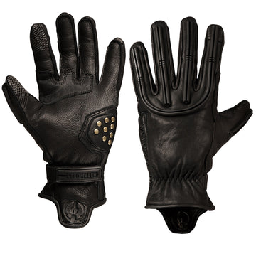 Black and black motorcycle gloves for daily commuting, weekend adventure riding, and exploring riding trails.