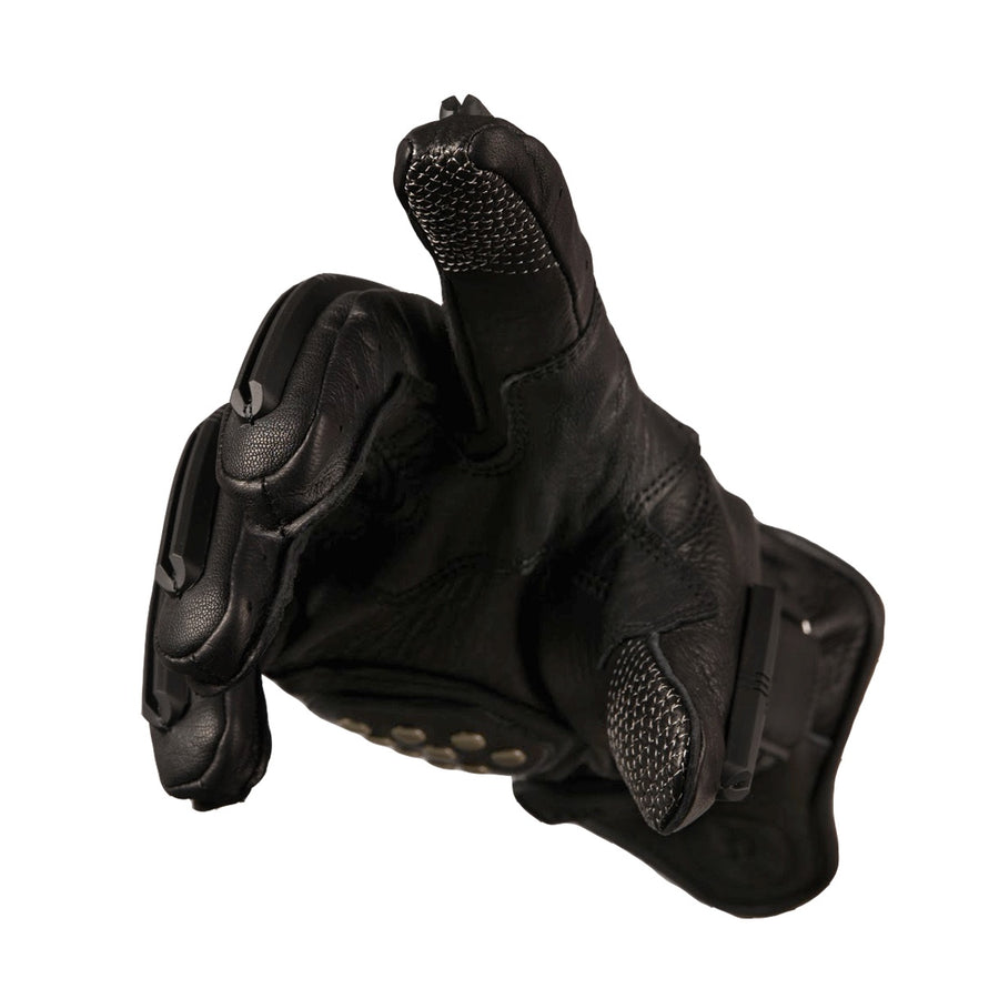 These motorcycle gloves feature conductive finger and thumb tips for touch screen smartphones.