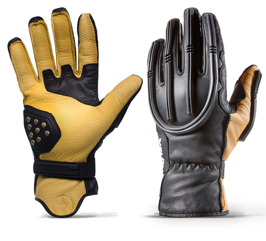 Tan and black motorcycle gloves for daily commuting, weekend adventure riding, and exploring riding trails.