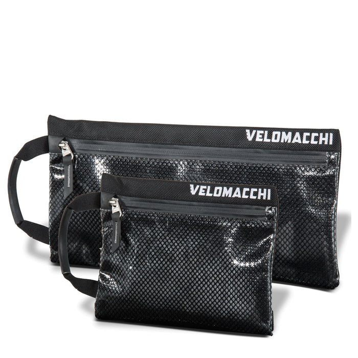 Large and small pouch for tools, medication, and everyday carry gear organization during motorcycle commuting and business travel.