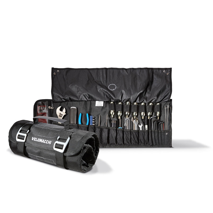 A motorcycle tool-roll reinforced elastic tool pockets fit a wide variety of tools.