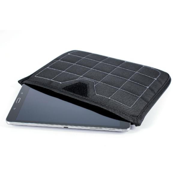 This tablet sleeve has hard shell panels, microfiber lining, and foam padding for protecting electronics during motorcycle commuting.