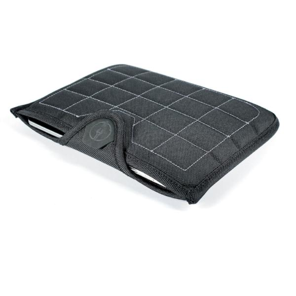 Velcro tab keeps tablet secured when in a motorcycle backpack, panniers, and hard cases mounted to a motorcycle.