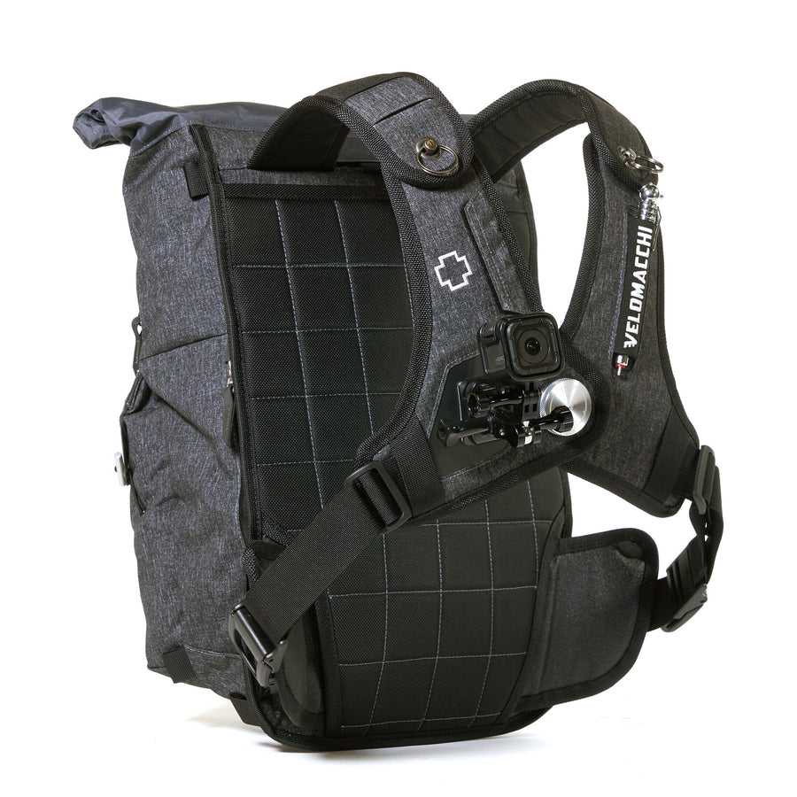 Roll-top daypack with GoPro mounted on shoulder strap