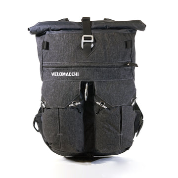 Rolltop waterproof backpack for motorcycle commuting