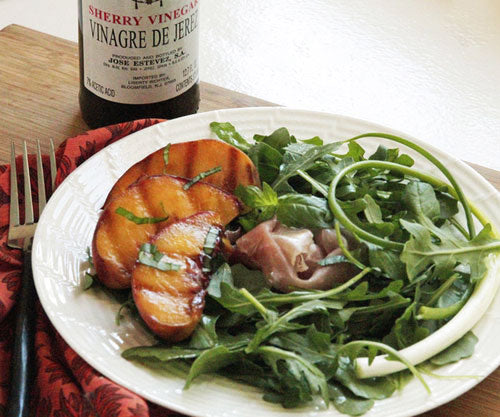 Arugula with Grilled Peaches and a Sherry Vinaigrette