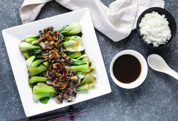 Seared Baby Bok Choy with Mushrooms