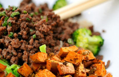 Beef and Broccoli with Roasted Sweet Potatoes