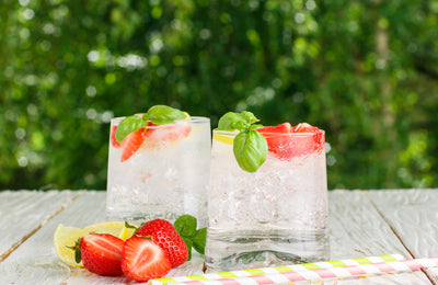 Strawberry Lemon Basil Detox Water