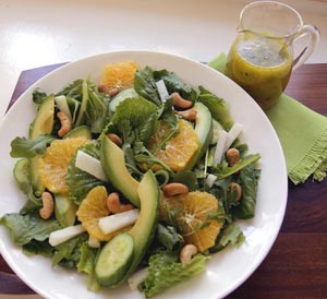 Orange Tarragon Salad and drink