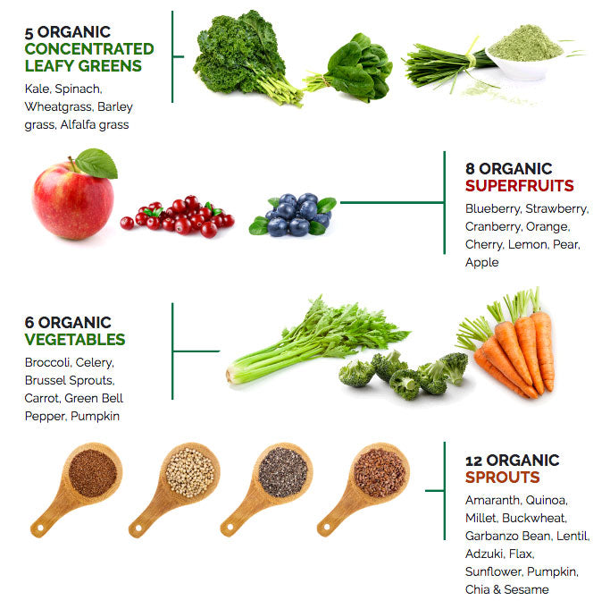 Organic leafy greens, vegetables, fruits, and grains
