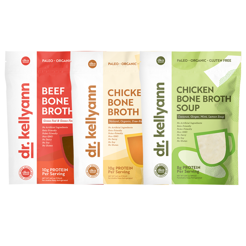 Beef, Chicken, and Coconut Ginger Mint Bone Broth Soup Bundle