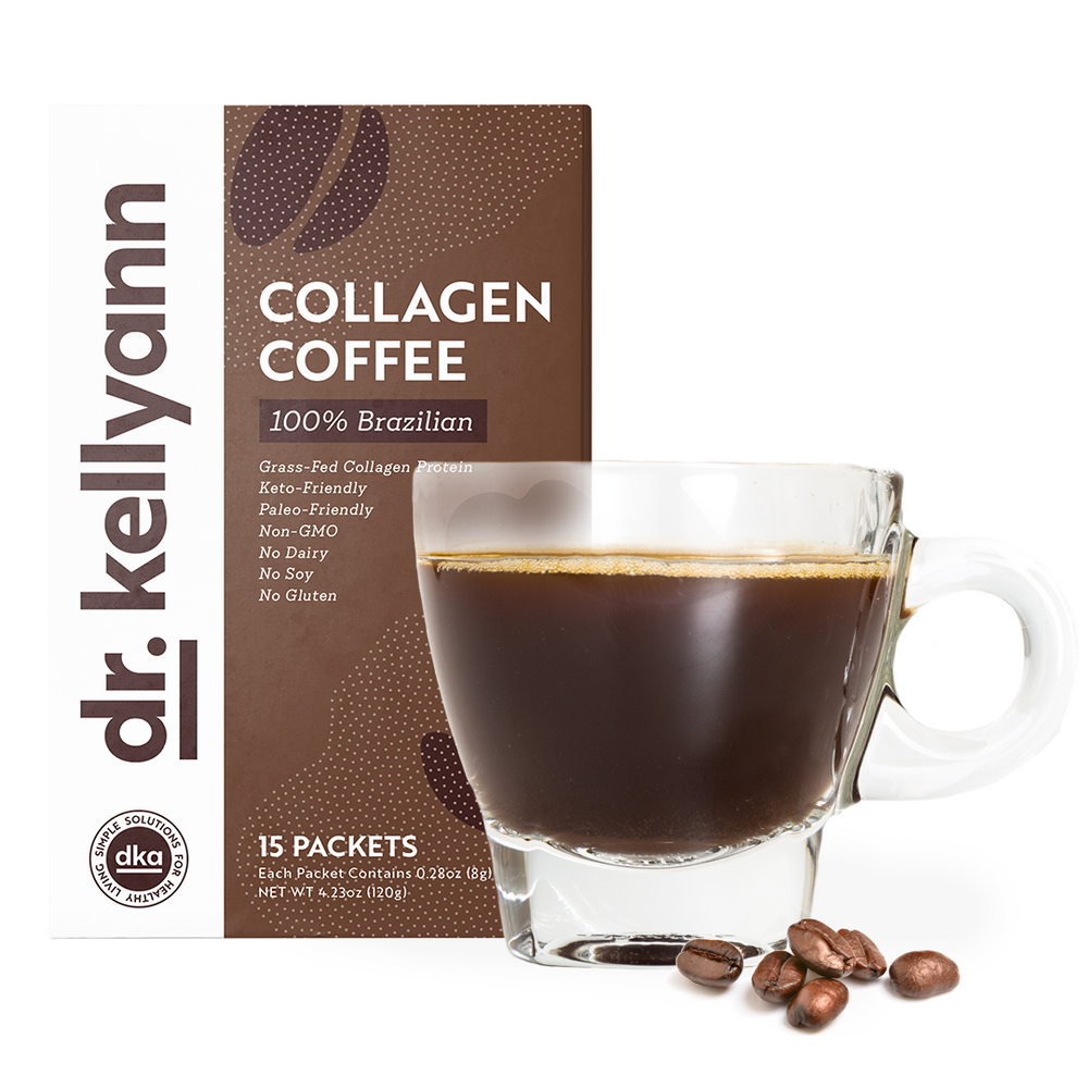 Collagen coffee packet and in a mug