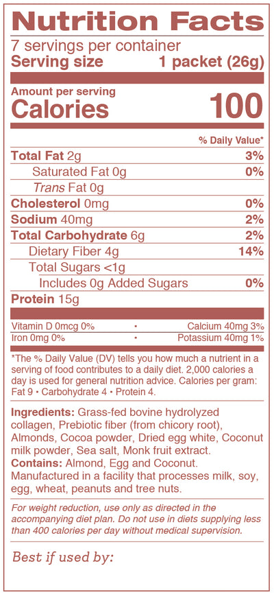 Chocolate Almond Collagen Shake Nutritional Information