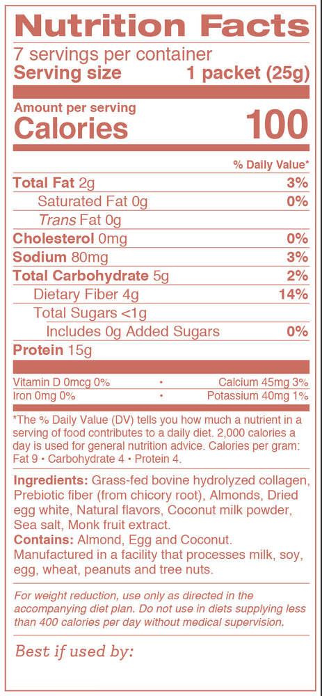 Nutritional Facts of Collagen Shake Vanilla Almond