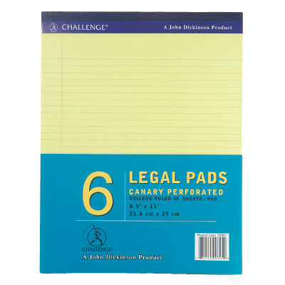 JD Chal Legal Pad Canary Yellow L/S #82591 Pack of Six