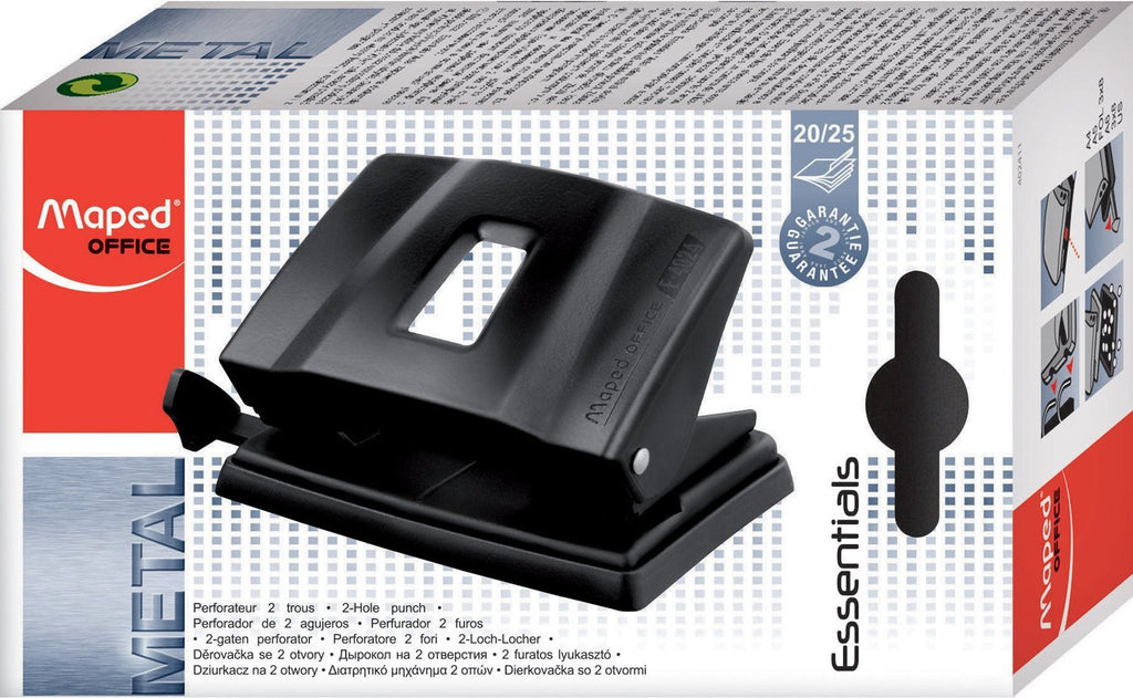 Maped 20//25 Sheet Essentials Two Hole Metal Punch 402411