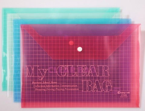 My Clear Bag transparent button file bag plastic folder fs legal size