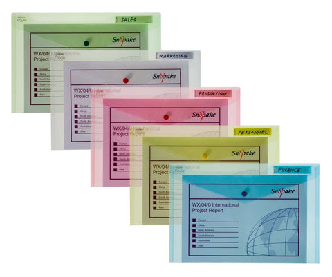 Snopake Polyfile folder 12565 A4 assorted colours pack of 5