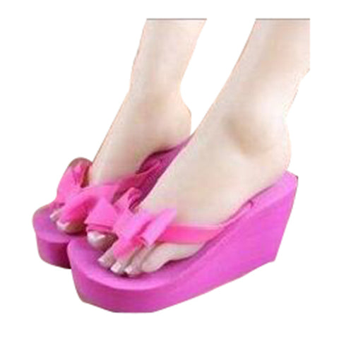 HEE GRAND Summer Bowtie Beautiful Trifle Wedges Flip Flops Women Sandals Bohemian Muffin Slope Drag Sandals XWT044