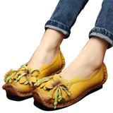 HEE GRAND Loafers Woman Super Soft PU Leather Flats Anti-Slippy Flower Bright Color Shoes Pregnant Vintage Women's Shoes XWD3284
