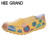 HEE GRAND Floral Print Patchwork Women Flats Slip-on Soft Comfortable Casual Shoes Spring And Autumn Shoes For Women XWD1260