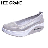 HEE GRAND Woman Flats Platform PU Cotton Patchwork Shaking Thick Bottom Bright Color Shoes Woman Spring Plus Size 35-41 XWR080
