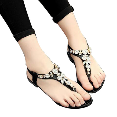HEE GRAND Rhinestone Fashion Women Sandals 2017 Summer Shoes Elastic Band Crystal Flat With Flip Flops XWZ2031