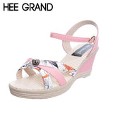 HEE GRAND Print Wedges Sandals Women Gladiator Platform Peep Toe Sandals Fashion Summer Style Shoes For Woman XWZ3823
