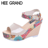 HEE GRAND Florral Print Wedges Heel Sandals Summer Shoes Woman Buckle Strap Platform Sandals XWZ2557