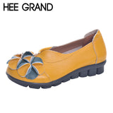 HEE GRAND Loafers Woman Top PU Leather Anty-slippy Bottom Flower Slip on Spring Shoes Mother's Shoes Woman Size 40 XWD3683