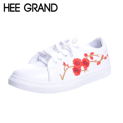 HEE GRAND Embroidered Women Casual Shoes Lace-up Floral Fashion Vulcanize Shoes All-match Spring White Shoes XWB119