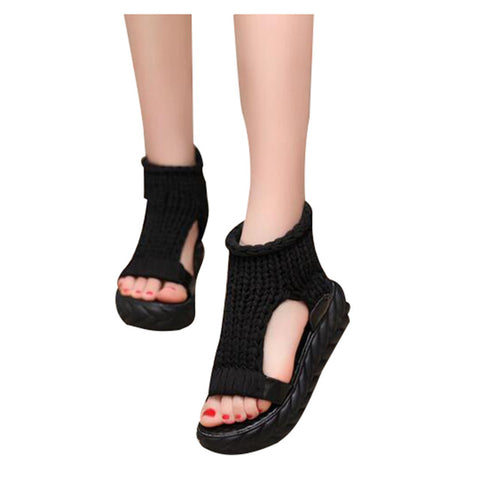 HEE GRAND Women Platform Sandals 2017 Soft Cotton Fabric Knitting Summer Gladiator Casual Slip on Peep Toe Women's Shoes XWZ3919