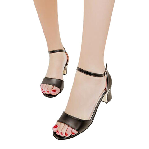 HEE GRAND Women's Sandals Simple Solid Square High Heel Summer Shoes Woman All-match Sandals XWZ3798