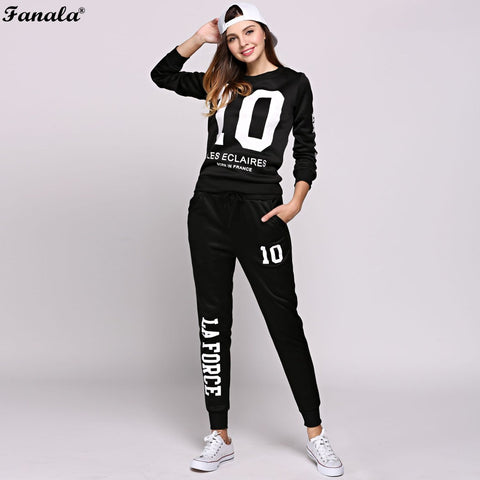 FANALA Tracksuit Sweatshirt Women 2 Piece Set Letters Printed Long Sleeve Tops and Long Pants Suit Set Women Sporting Suits
