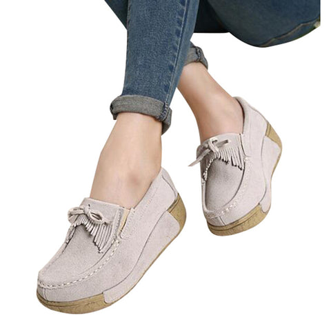 HEE GRAND Woman Flock Flat Thick Bottom Tassel Bowtie Mother Nurse Shoes Spring Autumn Casual Woman Plus Size 40 XWD4362