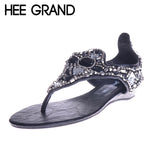 HEE GRAND Big Rhinestone Crystal Wedge Heel Sandals Women Summer Shoes For Girls Fashion Sandals XWZ1381