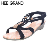 HEE GRAND Brand Summer Fashion White Shoes Flat Heel Gladiator Brief Herringbone Flip-flop Sandals Flat Women's Shoes XWZ591