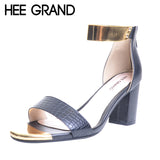 HEE GRAND Brand Gold Patchwork Women Sandals 2017 Snake Skin PU T-Strap Fashion Flip Flop 6 CM Summer Shoes Woman XWZ2039