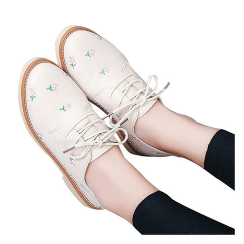 HEE GRAND Flower Decorate Women Oxfords Shoes Flat Platform Lace-up Fashion Shoes Woman British Style Footwear XWD5985