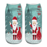 3D Printed Christmas Funny Socks Women Cute Unisex Low Cut Ankle Socks Multicolor Santa Claus Printed calcetines divertidos